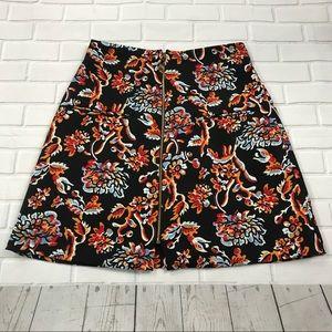 NWT Zara woman floral zipup skirt